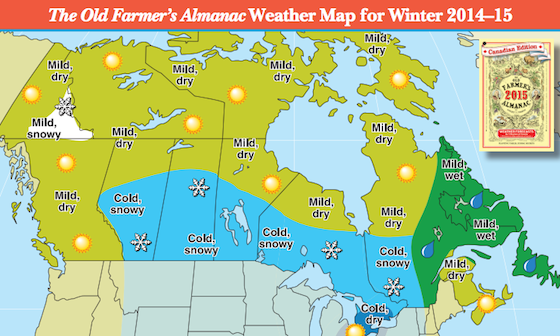 2014 2015 Winter Weather Forecast Map Canadian The Old Farmer S