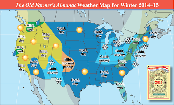 20142015 Winter Weather Forecast Map US Old Farmers Almanac