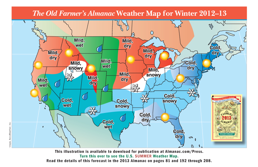 Weather Forecast Map : Promotional weather maps from the old farmer s almanac