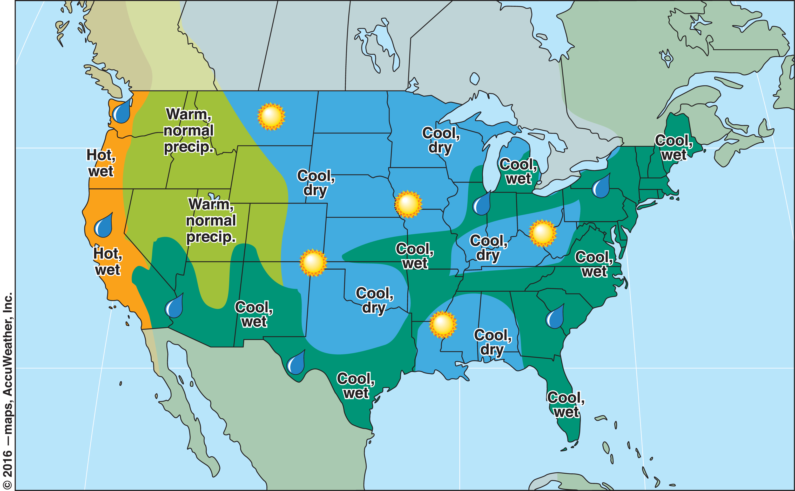 Summer Weather Forecast  US And Canada The Old Farmers - Latest us weather map