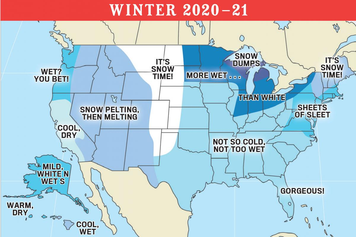Weather Map Northeast Us Winter Weather Forecast 2021 by The Old Farmer's Almanac