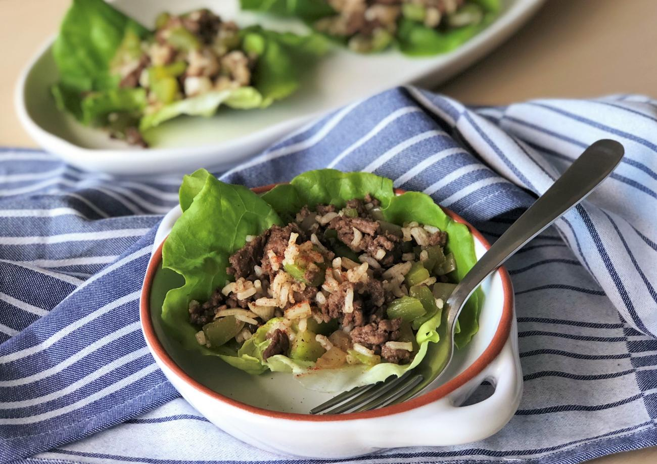 Beef and Rice Lettuce Cups