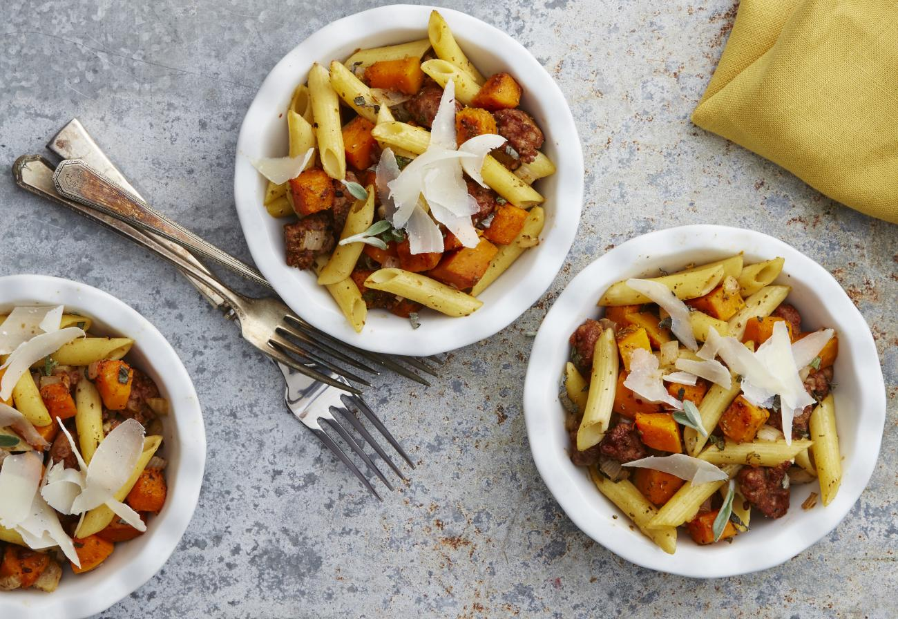 Butternut Squash With Penne and Sausage