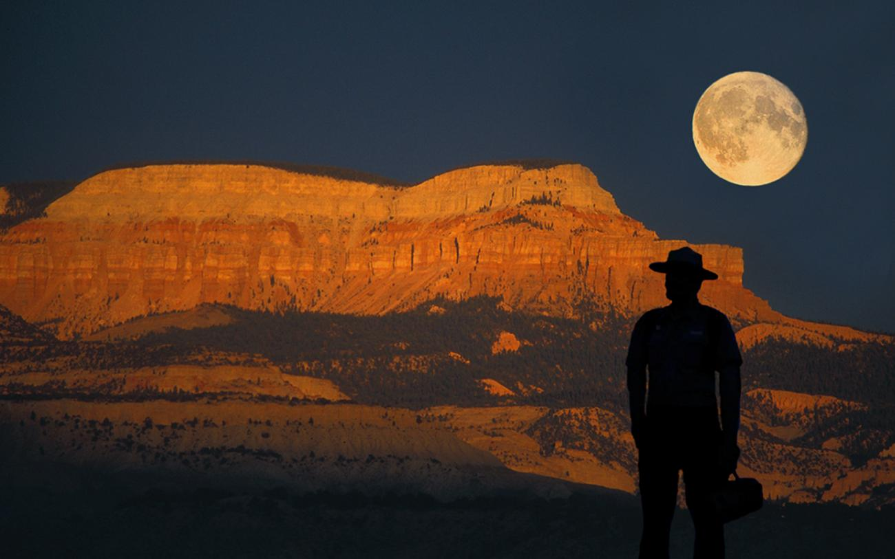Moon Hangs Low at Bryce Canyon