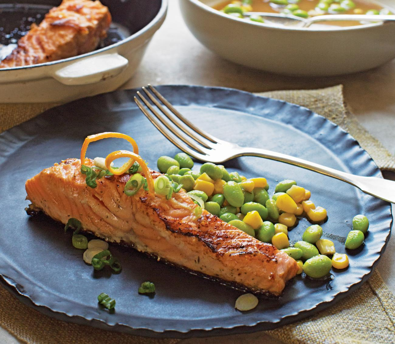 Spicy Orange Salmon Over Edamame and Corn