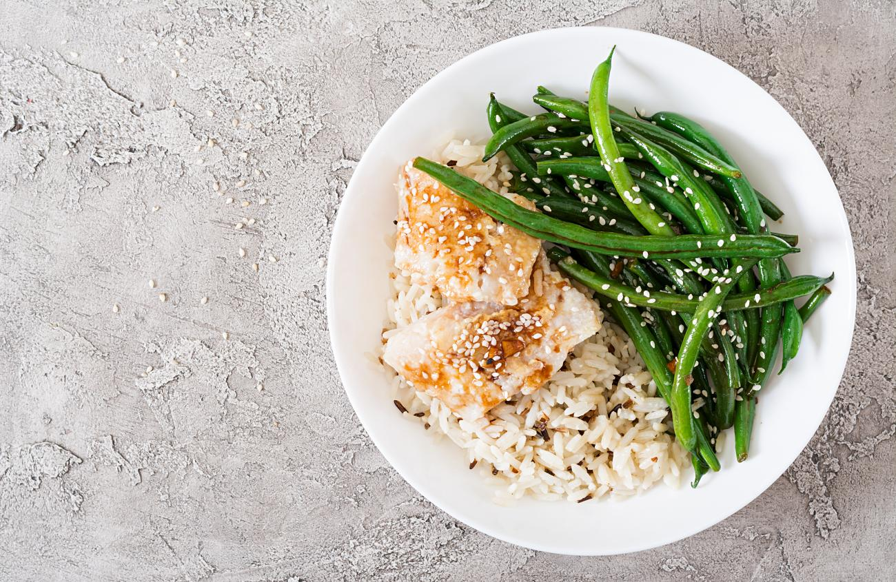 Green Beans, Fish, Rice
