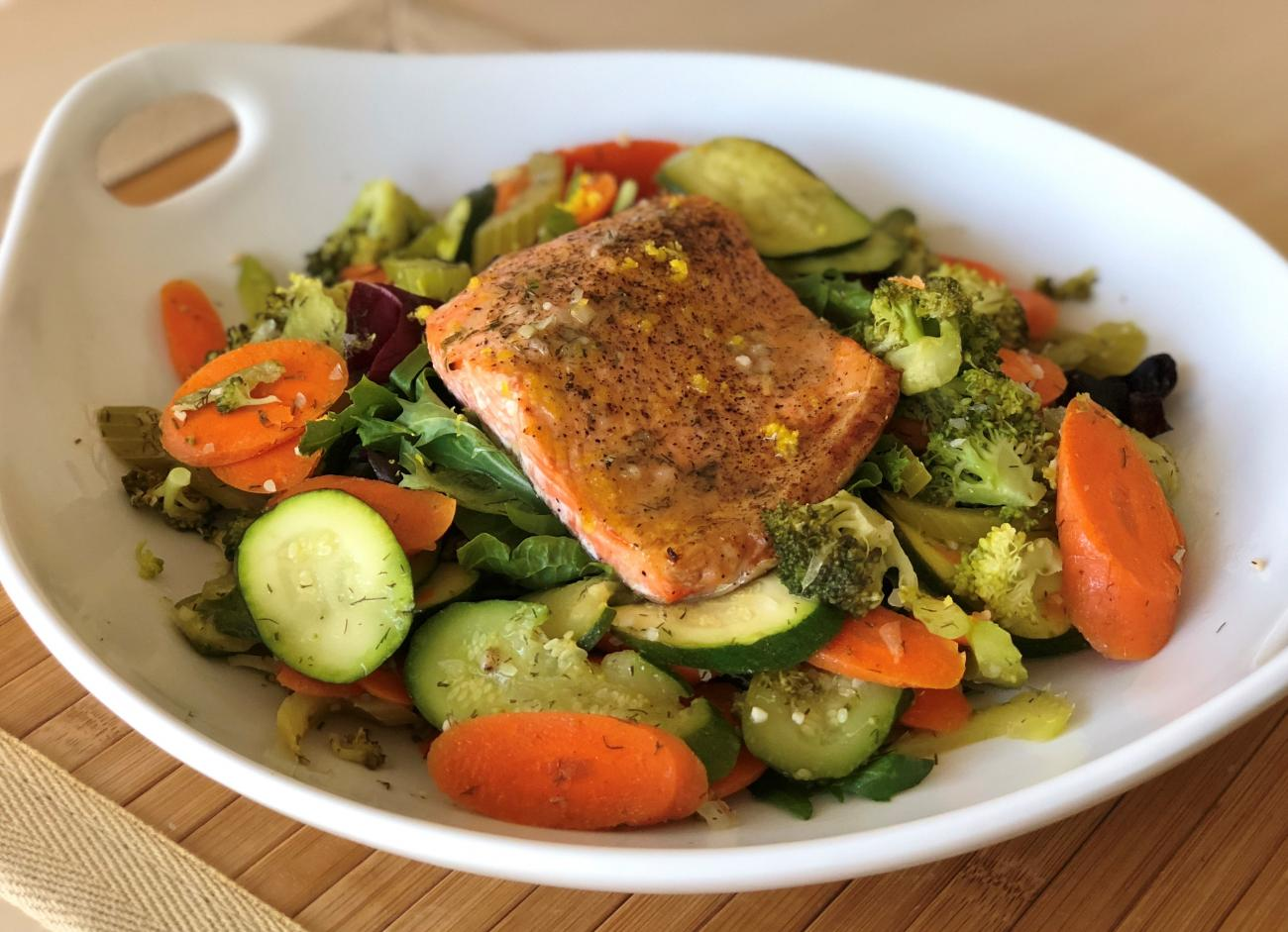 Marinated Vegetable Salad With Salmon