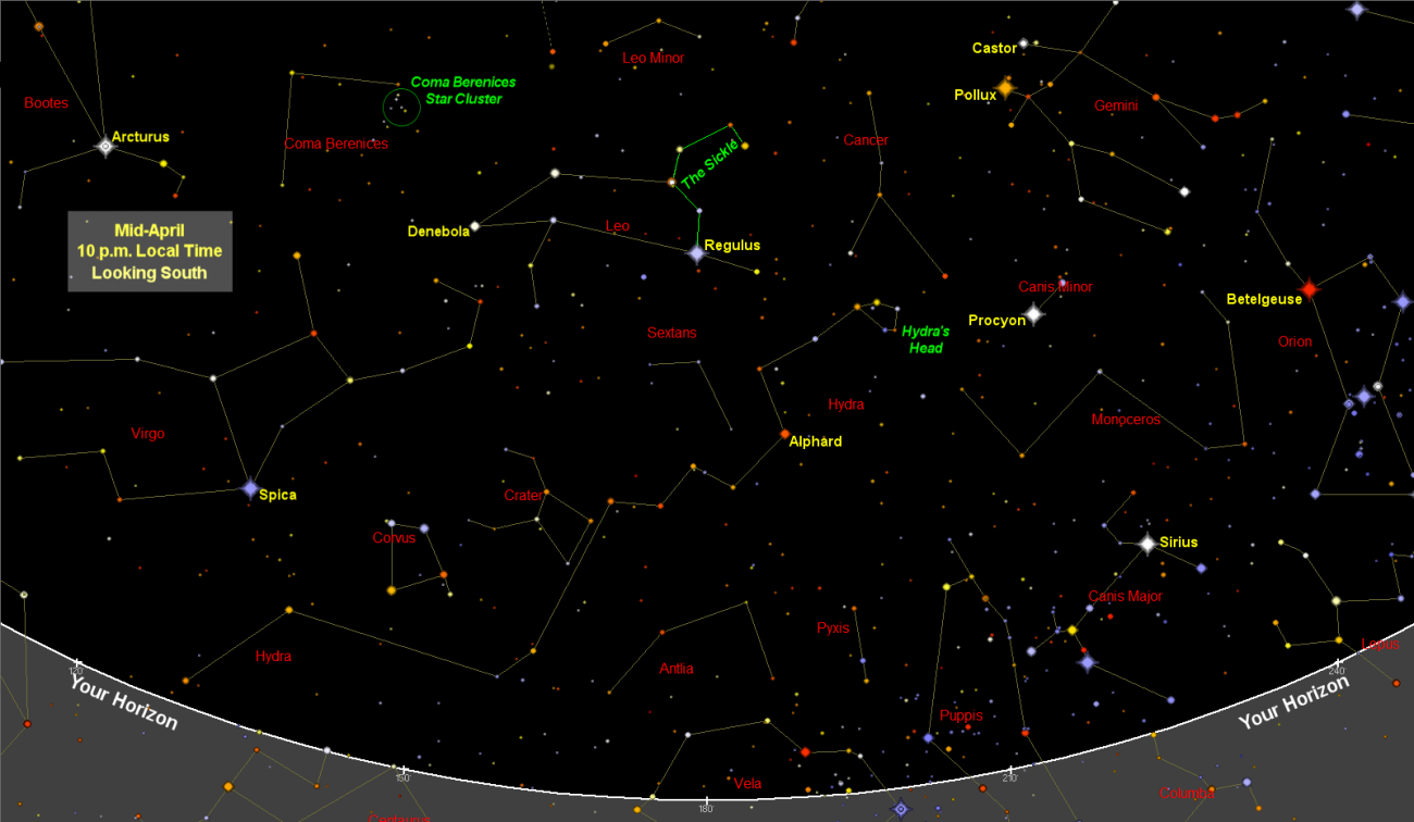 April Night Sky Map - Star Chart