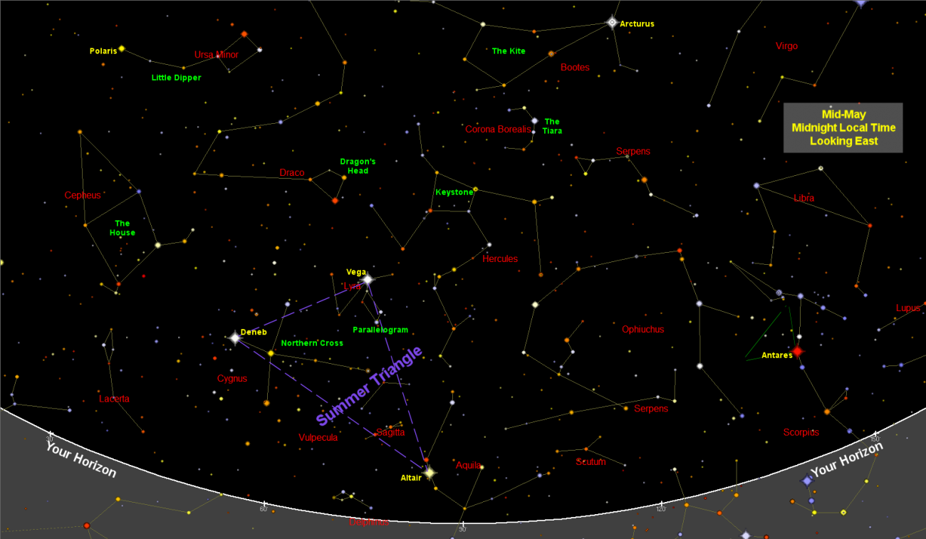 May Night Sky Map – Star Chart
