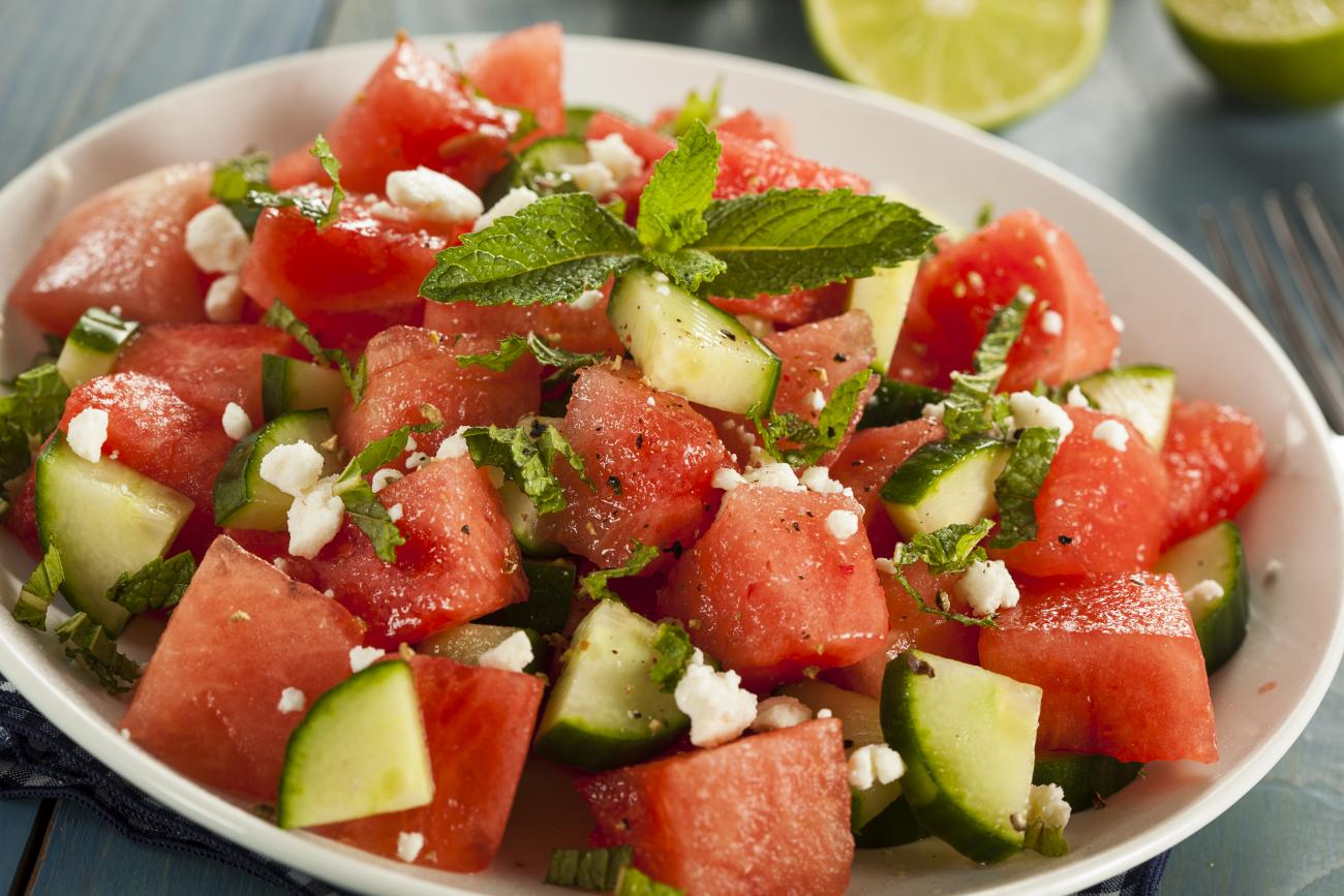Watermelon Cucumber Salad With Mint