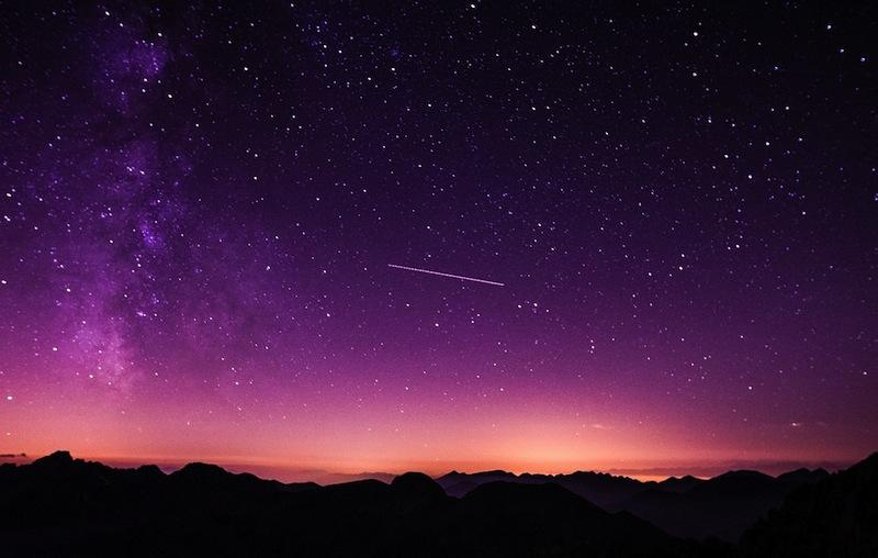 Meteor Shower in Purple