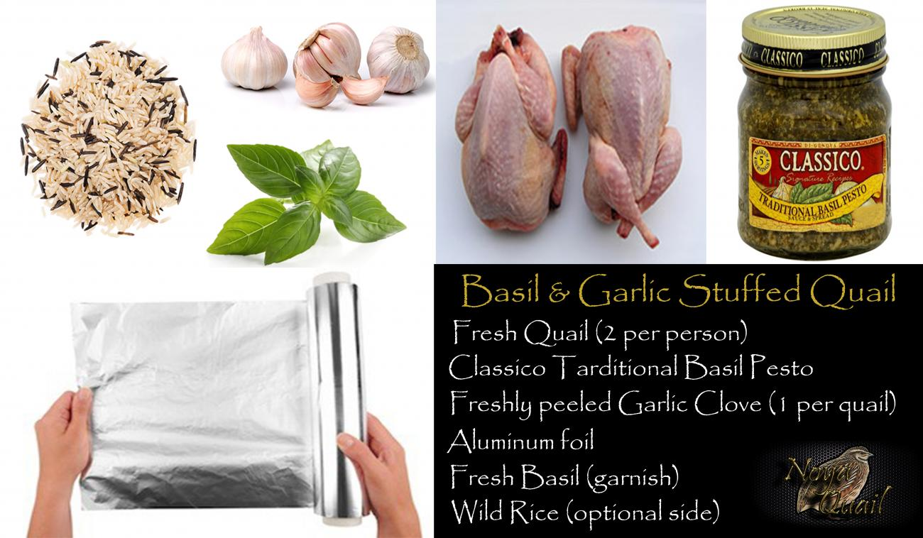 Recipe for Basil & Garlic Stuffed Quail