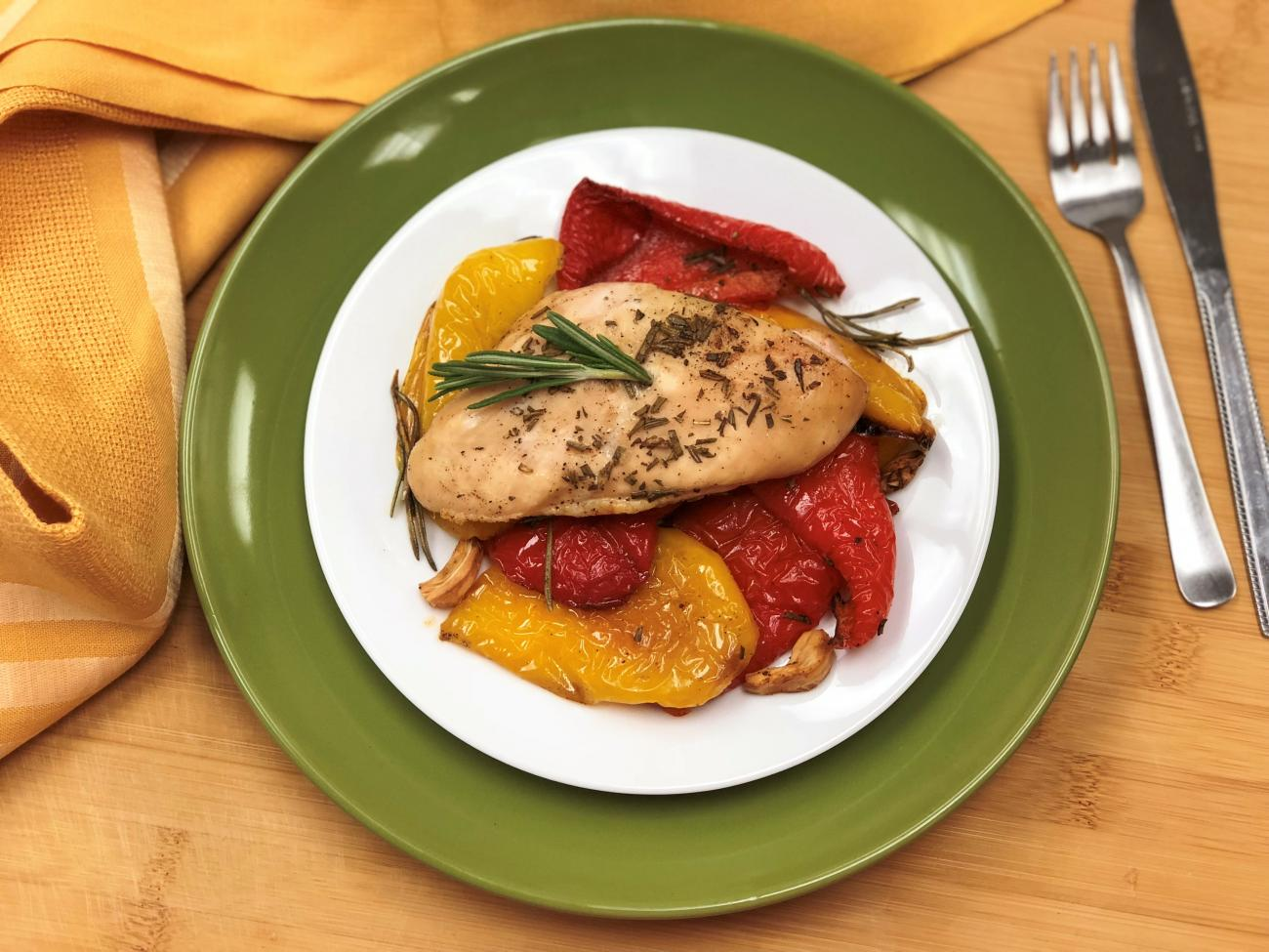 Recipe for Chicken With Roasted Bell Peppers and Rosemary