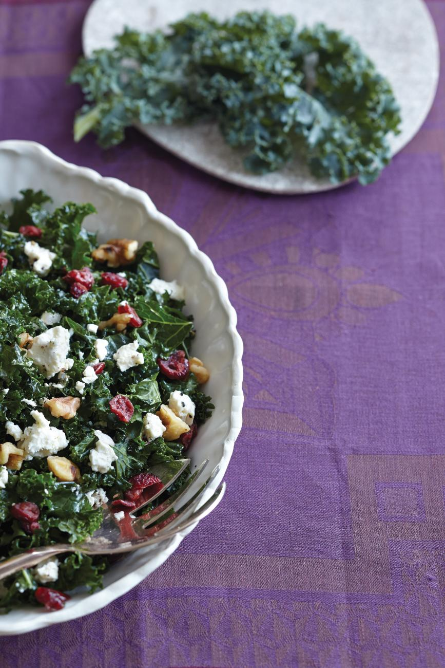Recipe for Kale Salad with Cranberries, Feta and Walnuts