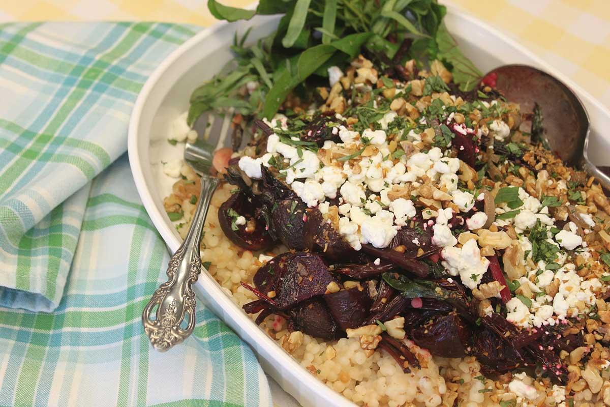 Recipe for Raspberry Roasted Beets and Chèvre Over Shallot, Walnut, and Beet Greens Couscous