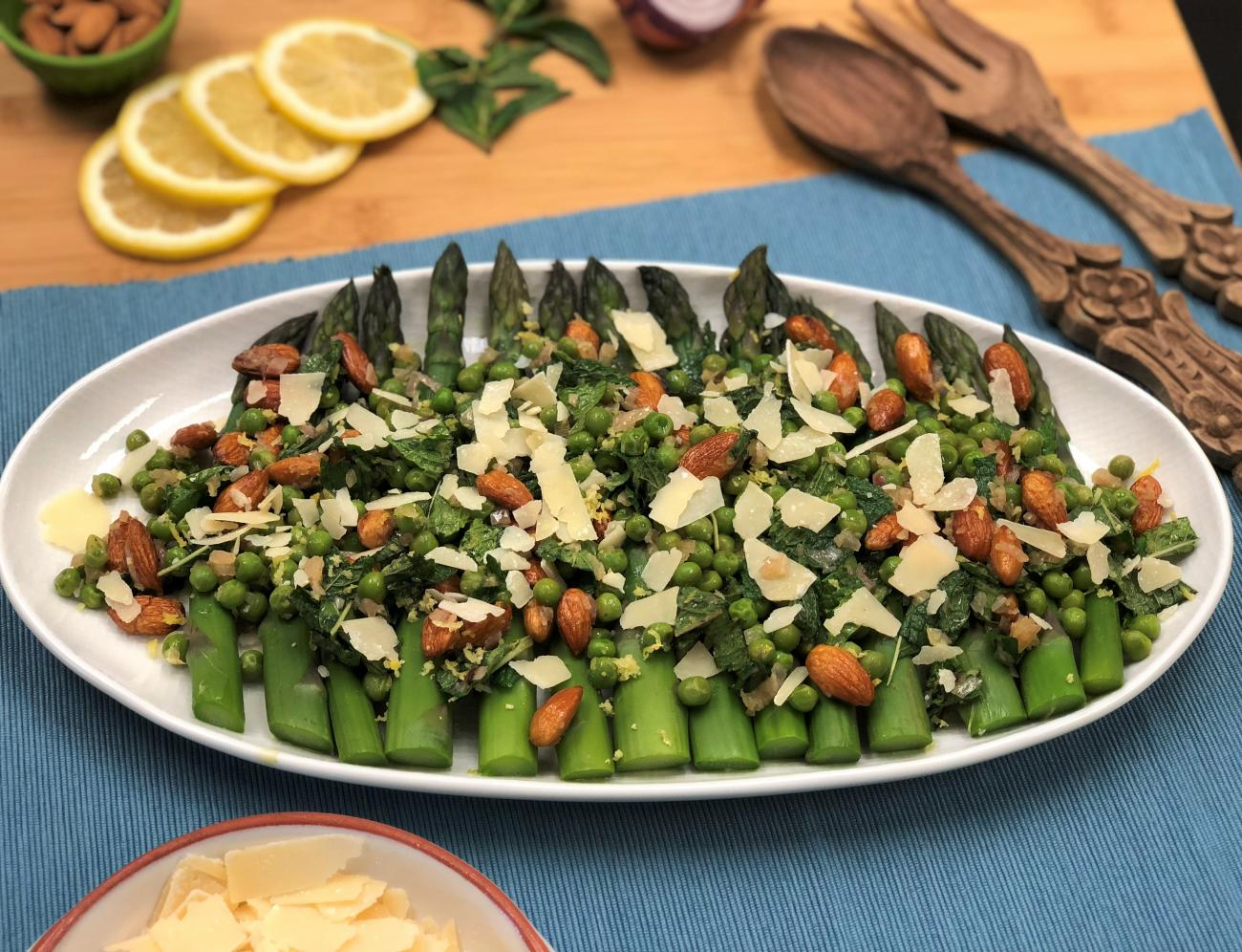 Recipe for Lemony Asparagus and Spring Pea Salad with Roasted Almonds