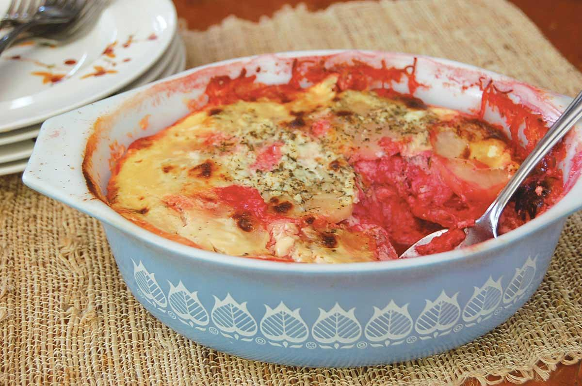 Recipe for Beets and Potatoes Au Gratin