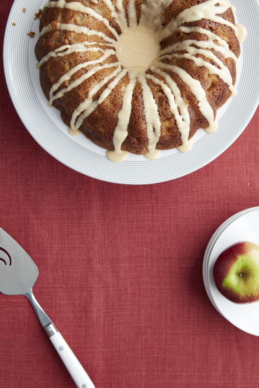 Recipe for Roman Apple Bundt Cake with Penuche Drizzle
