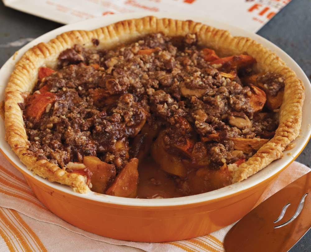 Recipe for Peach Nectarine Pie with Heath Bar Crumb Topping