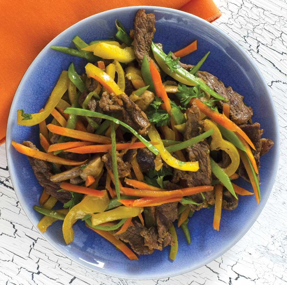 Recipe for Gingered Beef, Snow Peas, and Carrots