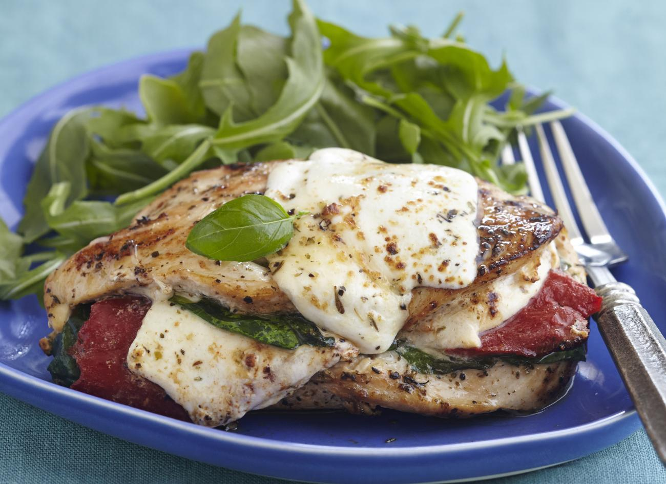 Recipe for Roasted Red Pepper, Mozzarella, and Basil-Stuffed Chicken