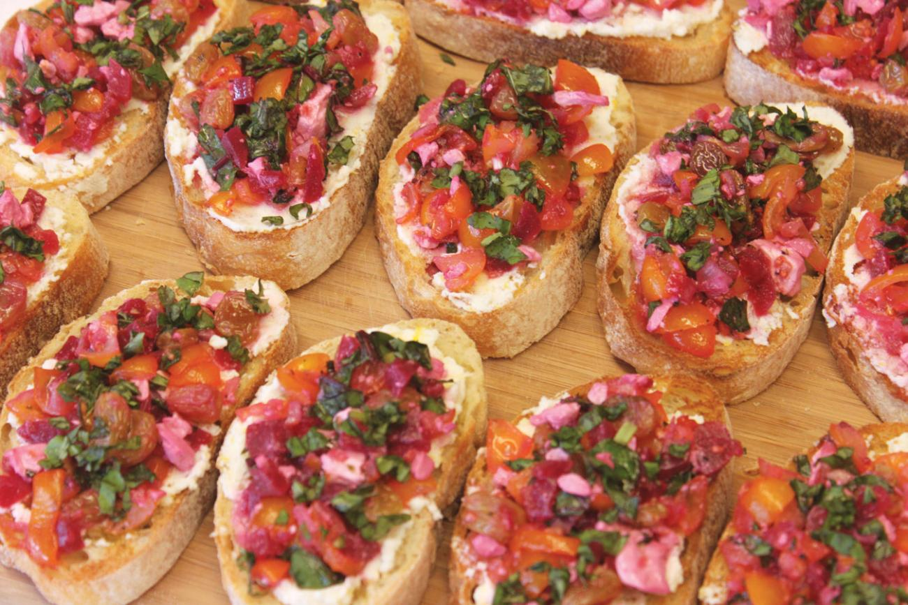 Recipe for Sweet Cherry Tomato and Beet Crostini