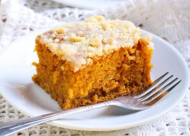 Browned butter frosted pumpkin bars. Photo by MShev/Shutterstock.