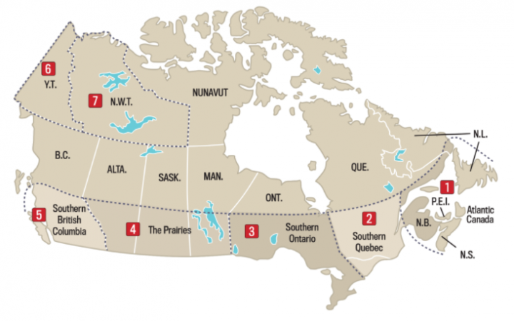 Canada weather regions map
