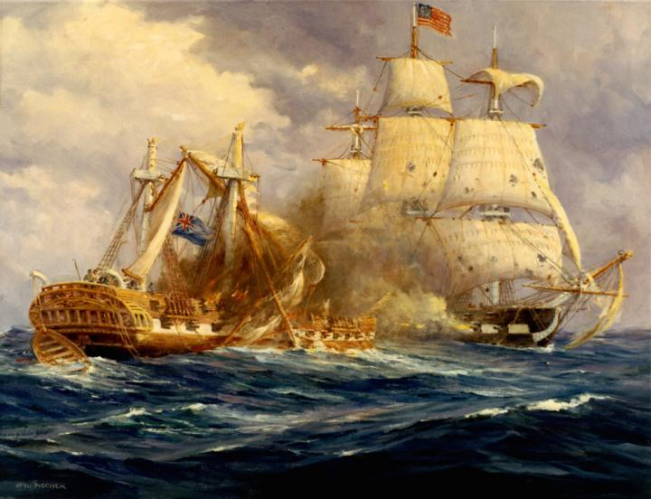 USS Constitution versus HMS Guerriere. Credit: Department of the Navy Historical Center