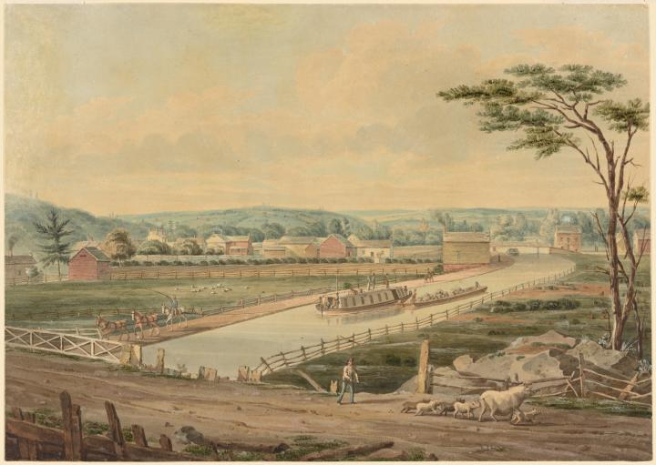 Erie Canal painting by John William Hill, 1829. Image courtesy of the New York Public Library.