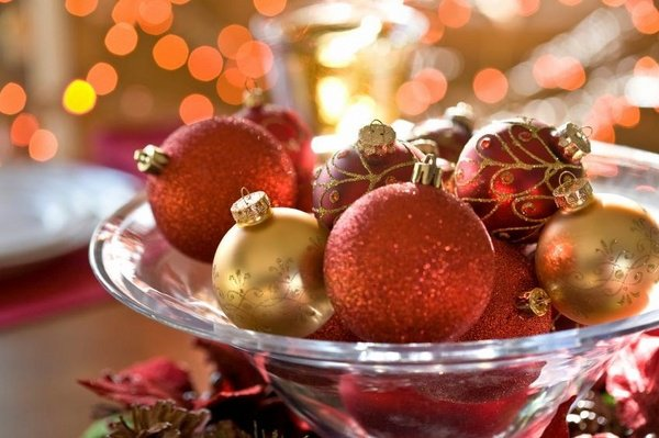 ornaments bowljpg - Red And Gold Christmas Table Decorations