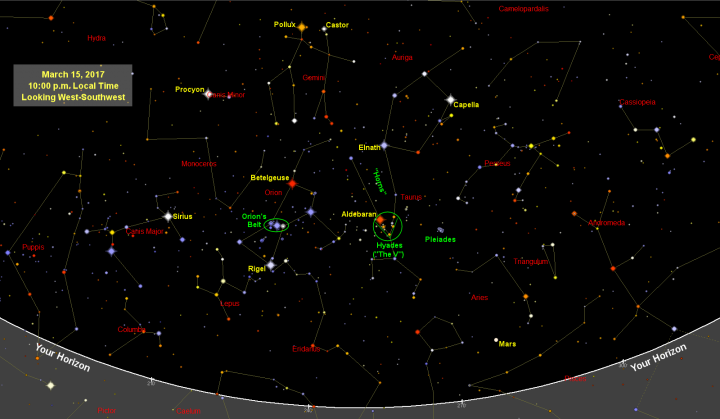 Sky Map Star Chart March Old Farmers Almanac - Orion star map