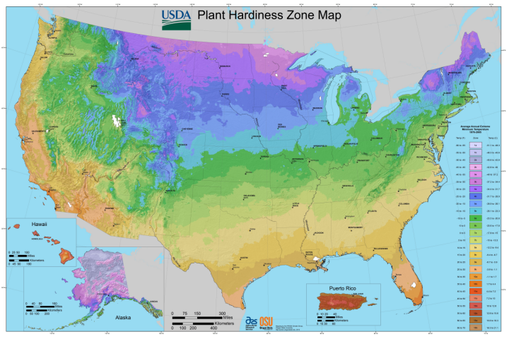 Exceptional USDA Plant Hardiness Zones Map, 2012.