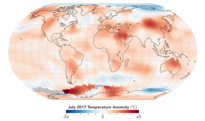 July 2017 Temperatures by NASA.