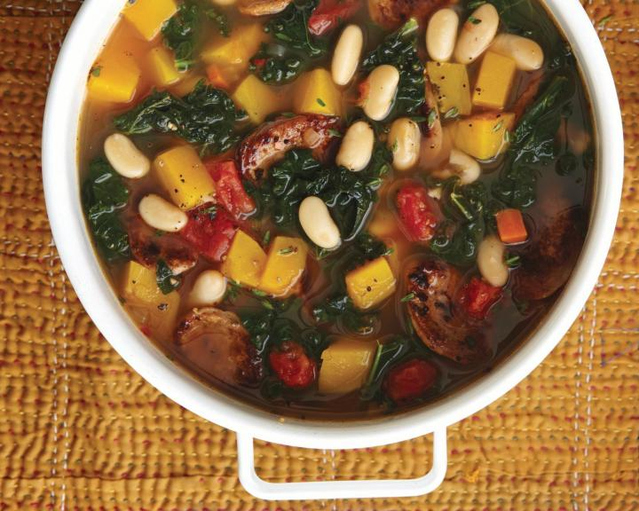 Kale, Sausage, and White Bean Soup. Photo by Becky Luigart-Stayner.