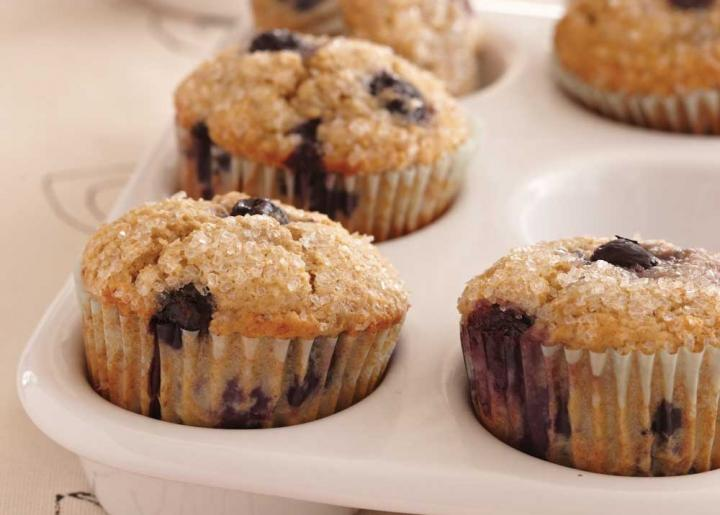 Oat Bran–Banana-Blueberry Muffins. Photo by Becky Luigart-Stayner.