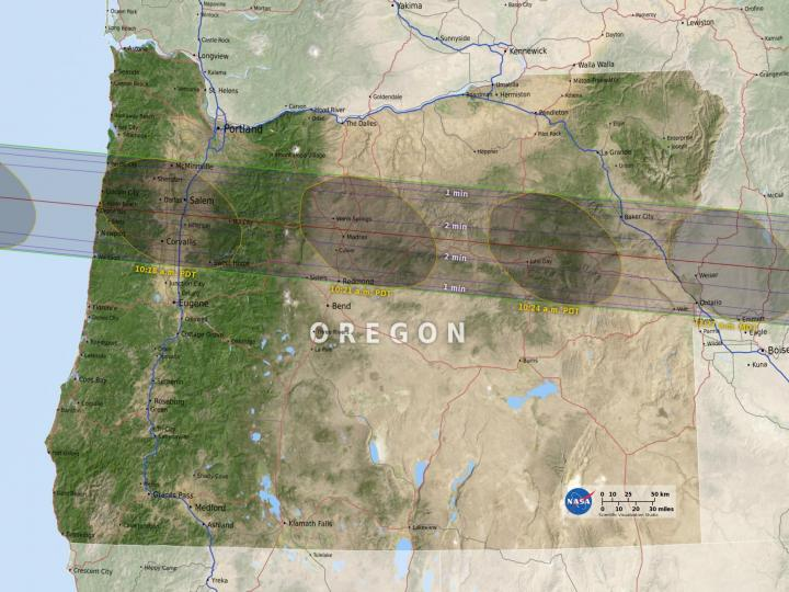 Oregon Eclipse Map by NASA