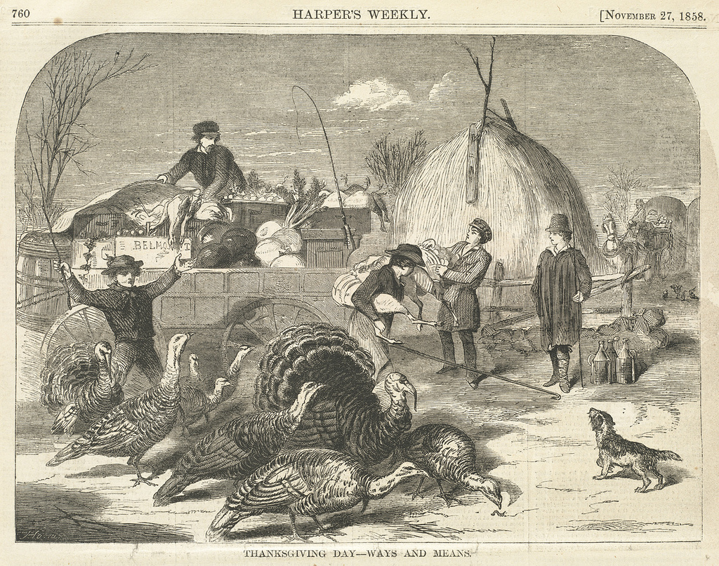 A Depiction of Thanksgiving Day, 1858, by Winslow Homer. Courtesy of the Boston Public Library.