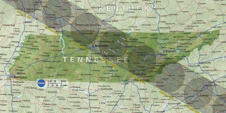 Tennessee eclipse map by NASA
