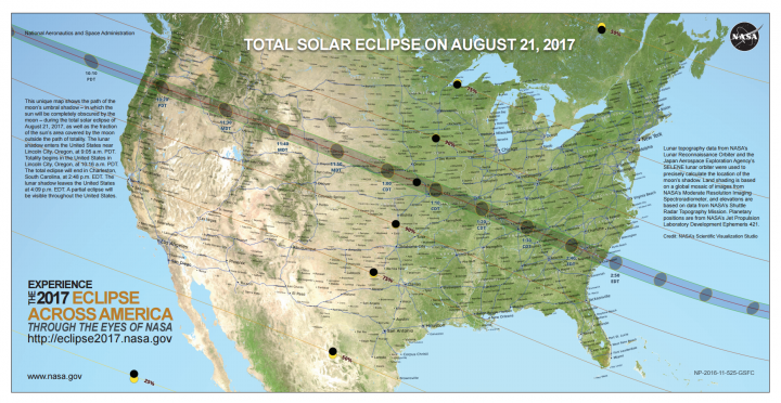 Map of the 2017 total solar eclipse by NASA.