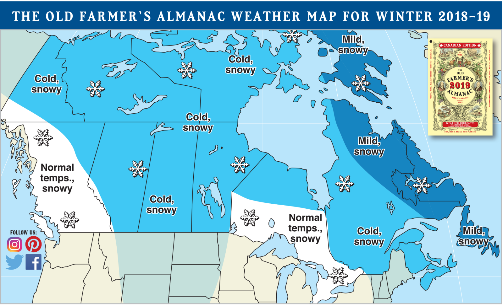 Official 20182019 Winter Weather Forecast The Old Farmers Almanac - Us-forecast-weather-map