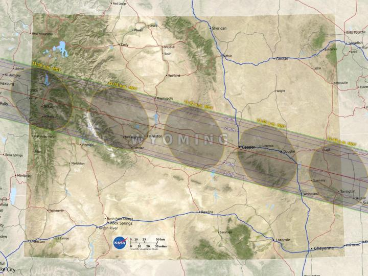 Wyoming Eclipse Map by NASA