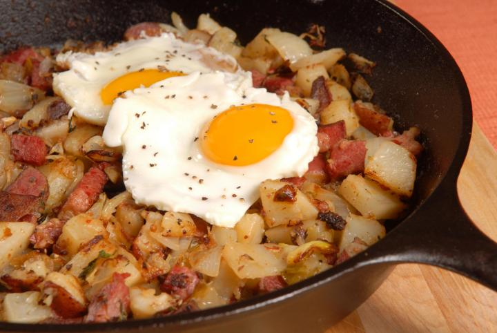 Corned Beef Hash with Eggs. Photo by David P. Smith/Shutterstock