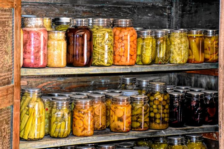 Root cellar filled with pickled and canned vegetables