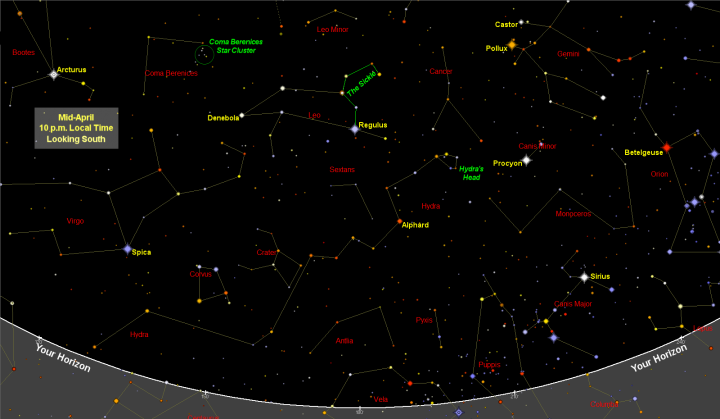 April Night Sky Map