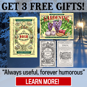 Order the 2018 Almanac, Get 3 FREE Gifts!