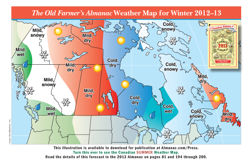 Promotional weather maps from the old farmer 39 s almanac for Farmer s almanac 2017 winter forecast