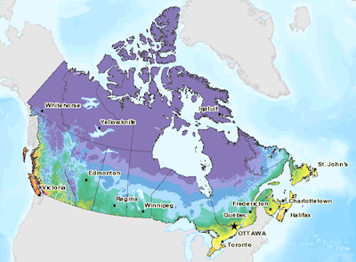 Agriculture Canada Plant Hardiness Zones Map