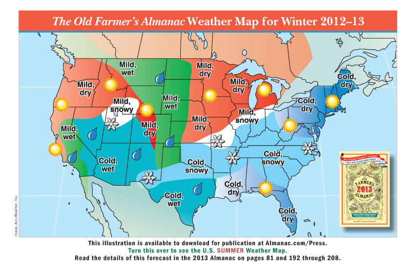 Promotional Weather Maps from The Old Farmer's Almanac