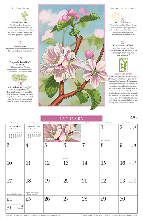 2016 gardening calendar spread old farmer 39 s almanac for Farmers almanac fishing calendar